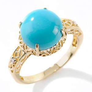 Heritage Gems Sleeping Beauty Turquoise and Diamond 14K Dome Ring at