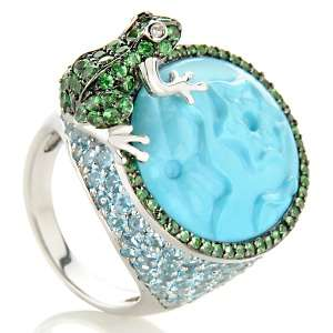 Sleeping Beauty Turquoise and Gemstone 14K White Gold Lily Pad, Frog