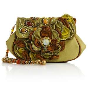 Mary Frances Iridescent Green Beaded Floral Flap Bag at HSN