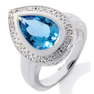 Sterling Silver 4.04ct Swiss Blue Topaz and Diamond Ring