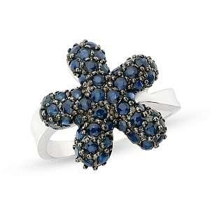 72ct Sapphire 14K White Gold Star Design Ring