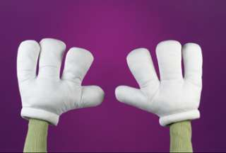 White Cartoon Character Gloves   Heya, raise your hands and say Hello