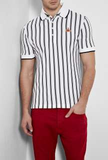Vivienne Westwood  White Baseball Stripe High Collar Polo Shirt by