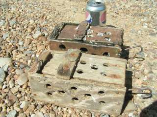 Old Wood Crab Lobster Shrimp Bait Traps Barnacles Nautical decor