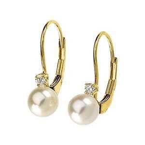 14K Yellow Gold Diamond Akoya Pearl Leverback Earrings Jewelry