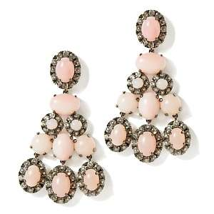 by Loren Pink Opal and White Topaz Sterling Silver Earrings