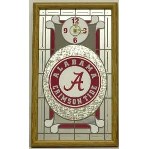 Alabama Crimson Tide Framed Glass Wall Clock Sports