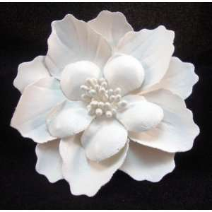 Ivory Leather Flower Hair Flower Clip and Pin Everything