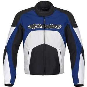 Mens Textile Vented On Road Racing Motorcycle Jacket   Blue / Small