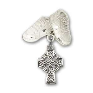 Silver Baby Badge with Celtic Cross Charm and Baby Boots Pin Jewelry