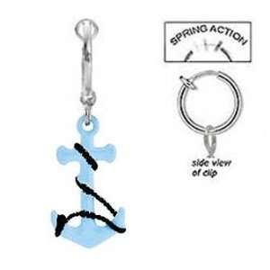 Fake Belly Navel Non Clip on Aqua Lt Blue & Black Anchor