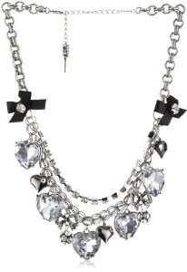 Crystal Multi Row Heart and Bow Charm Necklace Jewelry