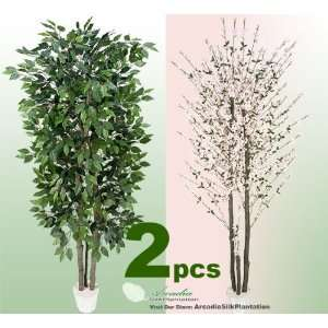 TWO 7 Artificial Trees   Very Full Ficus + Pink Cherry Blossom