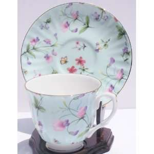 Fine Bone China Cup and Saucer Sweet Pea Blue Chintz