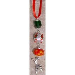 Crossed Skis & Beads Christmas Ornament