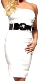 STRAPLESS CAREER WOMAN COCKTAIL PENCIL TUBE DRESS WITH BELT Clothing