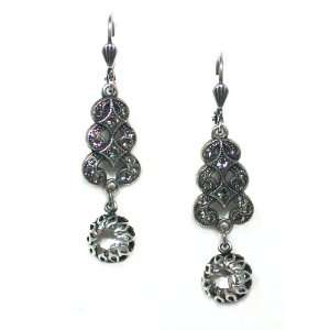 Black Diamond and Swarovski Crystal Drop Dangle Earrings Jewelry