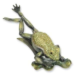 Enameled & Crystal Diving Frog Trinket Box Jewelry