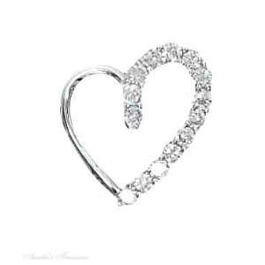 Sterling Silver Cubic Zirconia Open Heart Pendant Jewelry