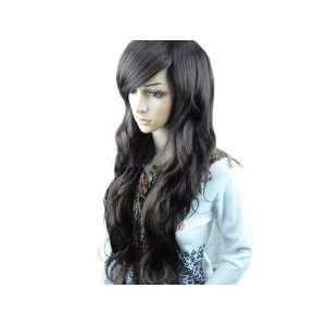 Women Stylish Long Wig Hair Curl Full Wigs Black (Wig Net