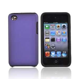 For iPod Touch 4 Rubberized Hard Case BLACK PURPLE