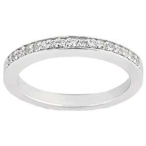 TW Ladies Prong Set Round Cut Diamond Wedding Band in 14 kt White Gold