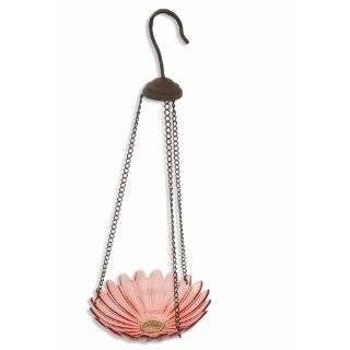 Collection Hanging Glass Dish Bird Feeder   7.5 Red Flower