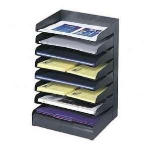 Steel Desk Tray Sorter, 8 Tier, Letter Size, Black   Steel