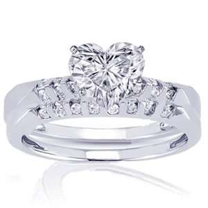.80 Ct Heart Shape Diamond Wedding Rings Set SI2 EGL