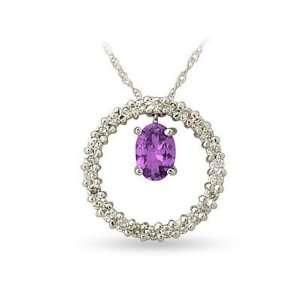 White Gold Diamond and Amethyst Drop Circle Pendant SZUL Jewelry