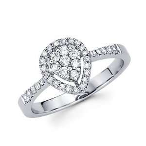 Size  8.5   14k White Gold Pear Shape Round Diamond Ring Band .66ct (G