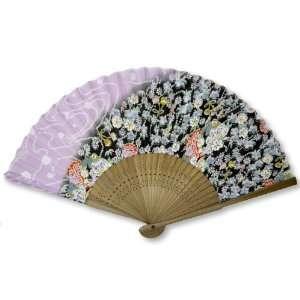 Bamboo Wood Oriental Silk Folding Fan