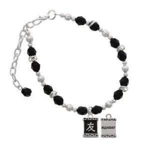 Character Symbols   Friendship Black Czech Glass Beaded Charm Bracelet