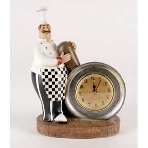 Fat Chef with Frying Pan and Clock Home Kitchen Display