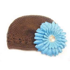 Fits 0   9 Months With a 4 Turquoise Gerbera Daisy Flower Hair Clip