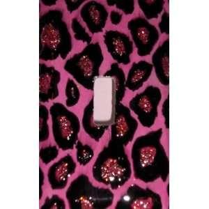 Hot Pink Glitter Leopard Print Decorative Switchplate