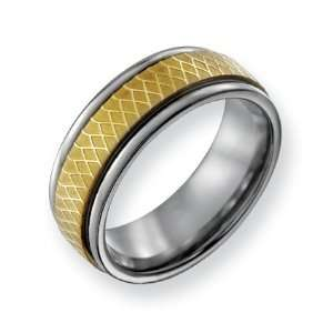 Titanium 8mm Gold plated Fancy Band Ring   Size 10.5