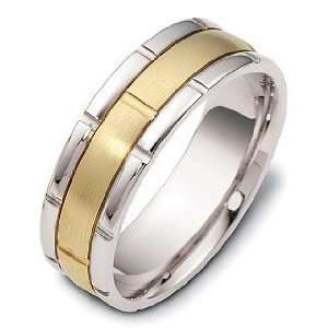 18 Karat Yellow Gold & Titanium Link Style Wedding Band Ring   5.75
