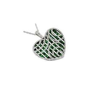 14K White Gold Diamond and Green Garnet Heart Shaped Necklace Jewelry