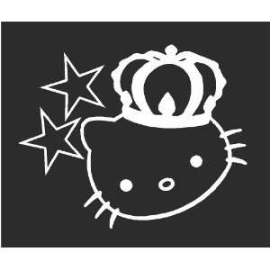 Hello Kitty Star & Crown Sticker Decal White 5 Tall
