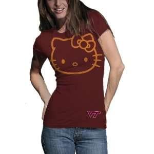 Hokies Hello Kitty Inverse Junior Crew Tee Shirt