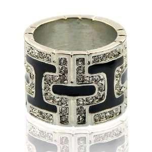 Black Enamel, Silver, Crystal Ring Size 5 Fashion Jewelry Jewelry
