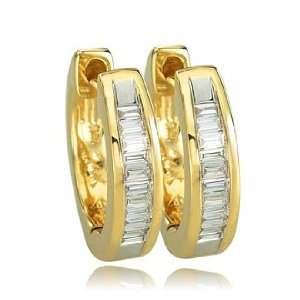 Set Tap Baguette Diamond 14K Yellow Gold Huggie Earrings Jewelry