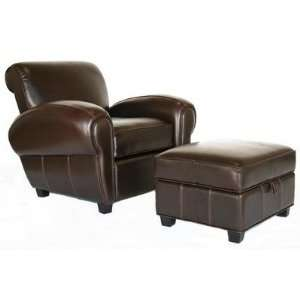 136 Full Leather Reclining Club Chair + Ottoman Interiors Furniture