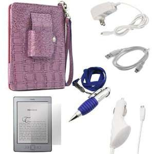 EveCase Crocodile Purple Leather Case with LED Light + White Home Wall