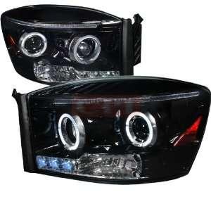 Halo Projector Headlight Gloss Black Housing Smoke Lens Automotive