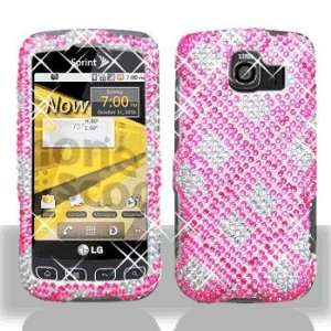 Full Diamond Hot Pink Plaid Snap On Hard Case Cover Phone
