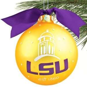 LSU Tigers Gold Campus Landmark Christmas Ornament  Sports