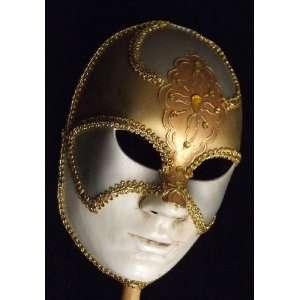Halloween Mask Full Face Mardi Gras Round Silver Gold White Venetian
