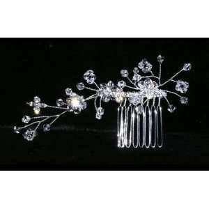 Bridal Side Comb Silver Rhinestone Crystal Flower Spray Wedding Hair